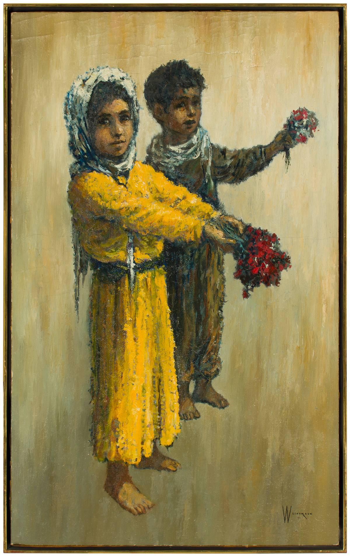Barefoot Children and Flowers, Modern Mid-Century Israeli Painting