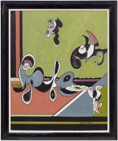 Armenian American Abstract Artist Sacklarian Bimorphic Oil Painting