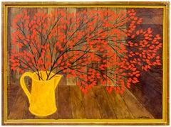 Modernist Vibrant Red Flowers in a Vase Judith Shahn