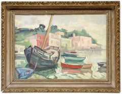 Italian Modernist Oil Painting Boats in the Harbor