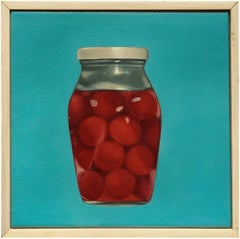 Jar of Cherries II, Vibrant Oil Painting