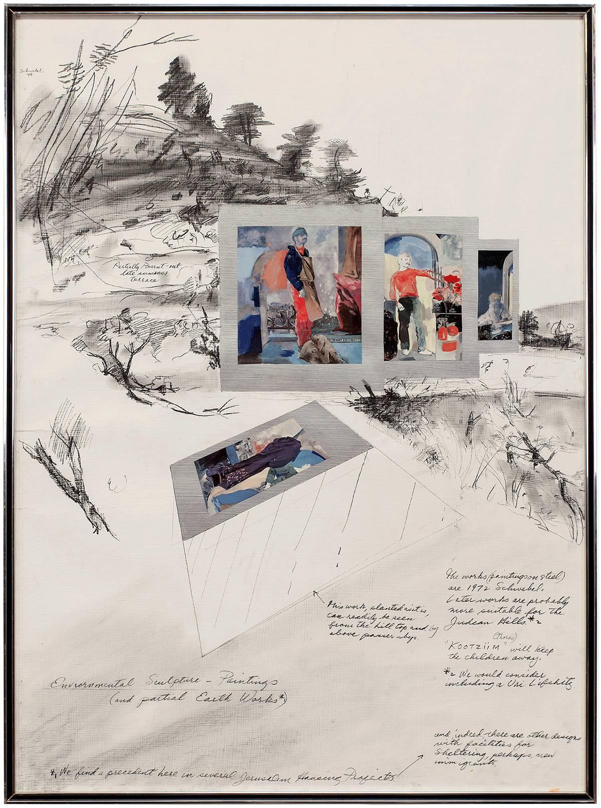 """1970s Israeli """"Untitled proposal for Environmental Sculpture Project"""" Collage"""