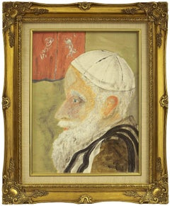 Elderly Rabbi 20th Century Judaica Portrait