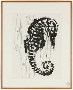Arte Povera Italian Modernist Composition Drawing Painting Sea Horse with Nude