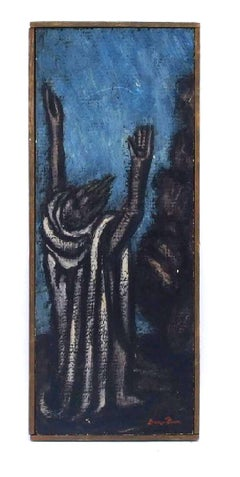 The Prophet, Modernist Judaica Oil Painting Biblical Jewish Rabbi at Prayer