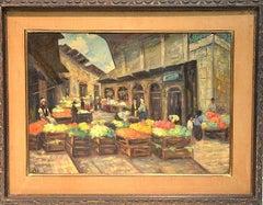 Rare Judaica Jerusalem Shuk  Market Scene Oil Painting. Famous Kabbalist Artist