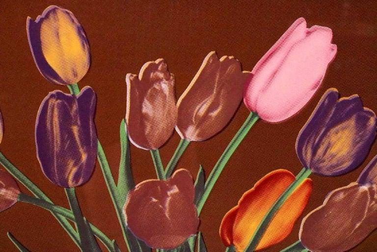 Tulips in Vase, Silkscreen Pop Art - Brown Still-Life Print by Francesco Scavullo