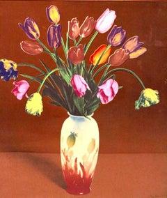 Tulips in Vase, Silkscreen Pop Art