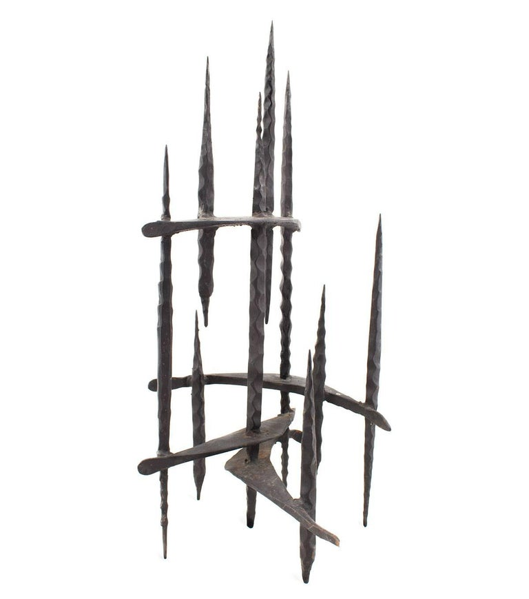 Hand Forged Iron Candelabra  Holocaust Memorial Judaic Menorah Sculpture  David Palombo was an Israeli sculptor and painter. He was born in Turkey and immigrated to the Land of Israel with his parents in 1923. In 1940 he began his studies at Bezalel