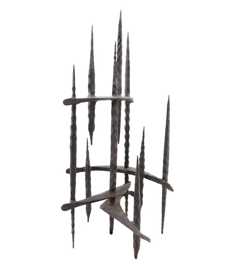 Mid Century Brutalist Iron Sculpture, Israeli Master David Palombo For Sale 1