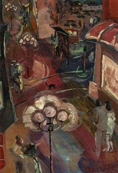 Mid Century Expressionist European Nighttime Steet Scene