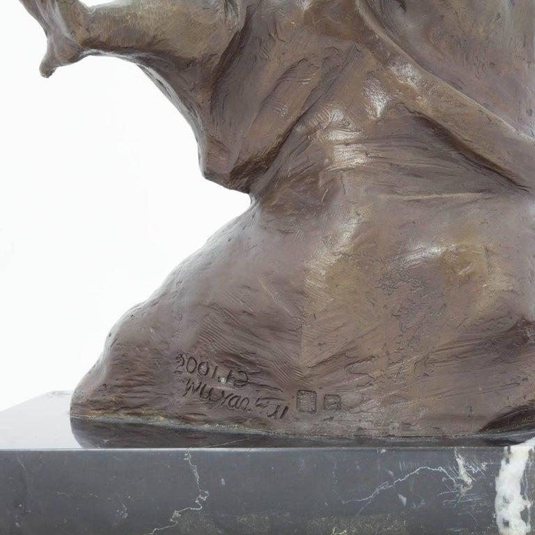 Weight Lifter Chinese Contemporary Art Bronze Sclupture  - Sculpture by Yaohui Wu