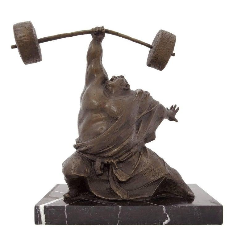 Yaohui Wu Figurative Sculpture - Weight Lifter Chinese Contemporary Art Bronze Sclupture