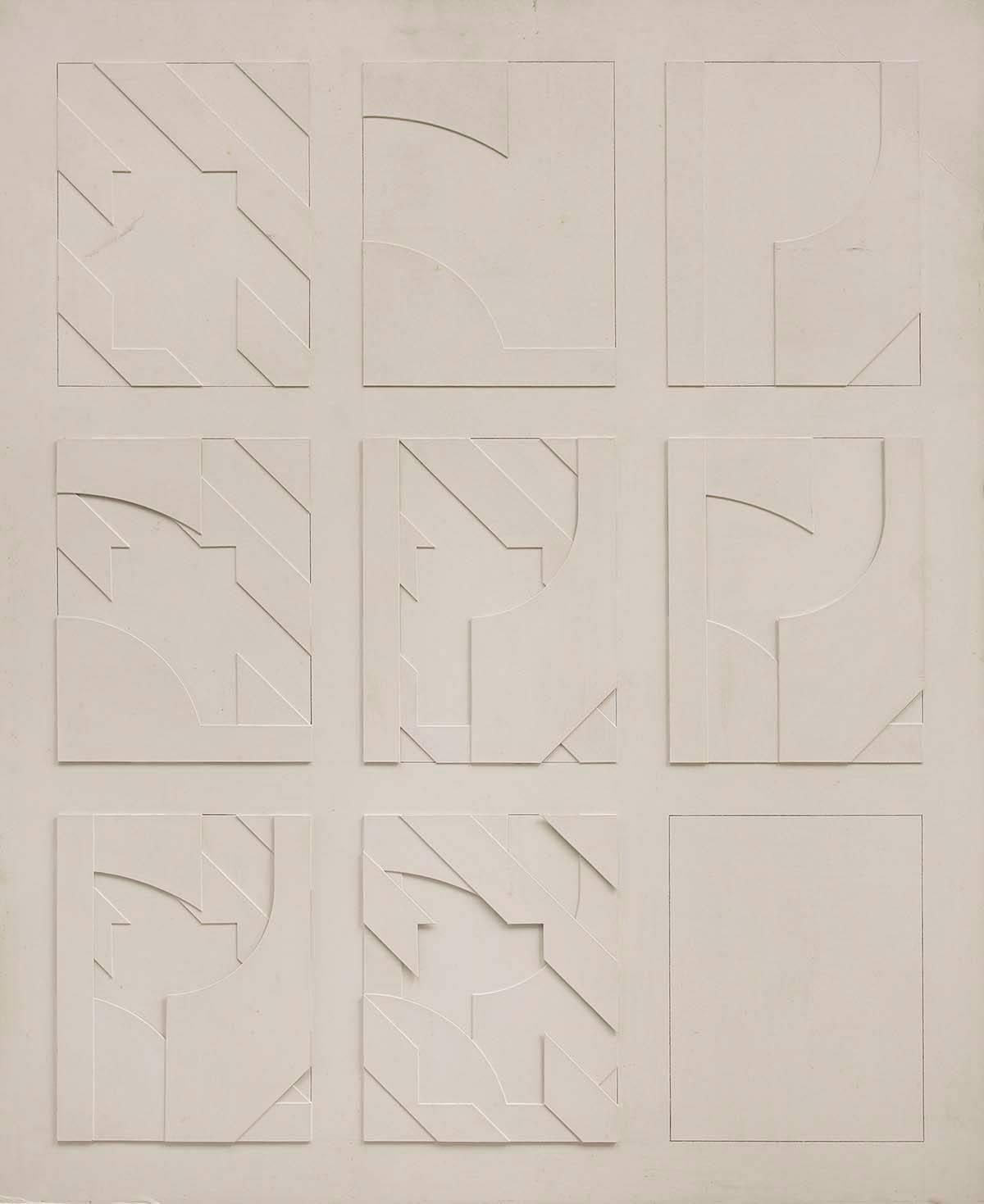 Concstructivist Concrete Monochrome Assemblage Wall Sculpture Painting