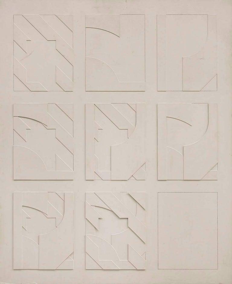 Jean-Pierre Maury Abstract Sculpture - Concstructivist Concrete Monochrome Assemblage Wall Sculpture Painting