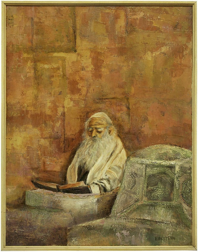 Rare 1950s New York Modernist Judaica Rabbi Oil Painting signed A. Einstein - Brown Figurative Painting by A. Einstein