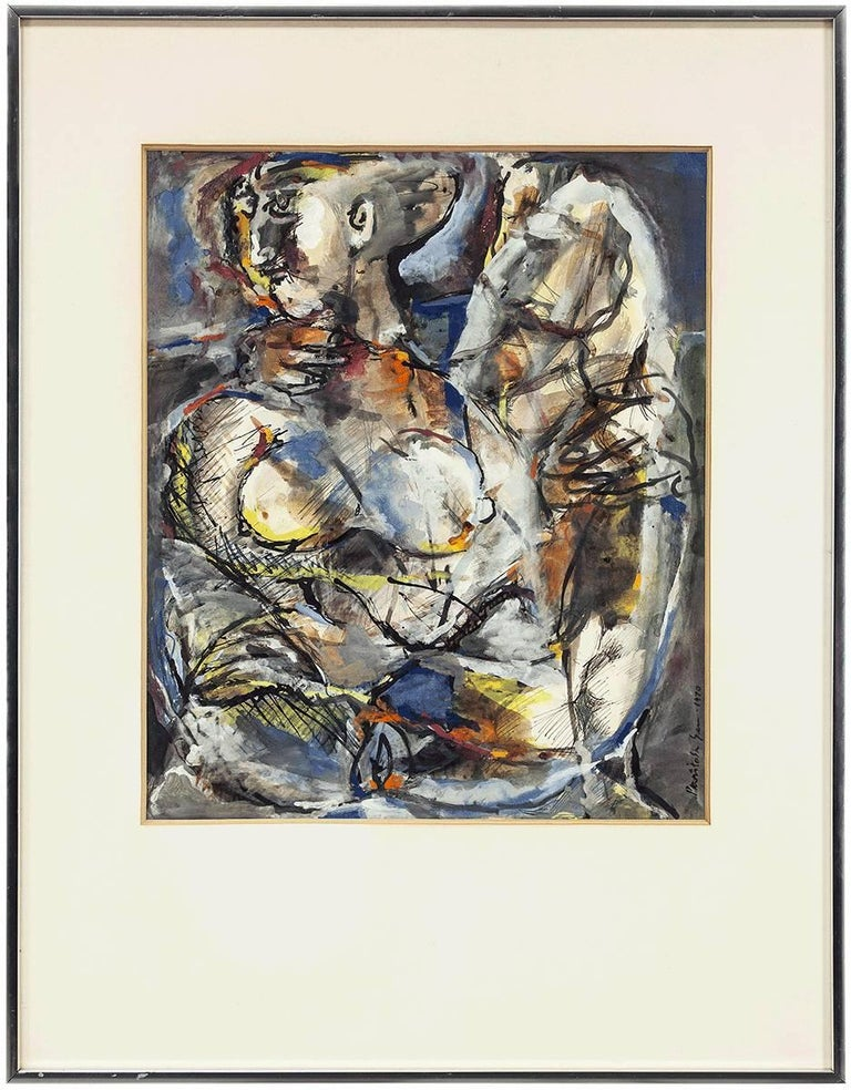 """Indian Modernist Master """"Two Figures""""  Mixed Media Watercolor Gouache Painting"""