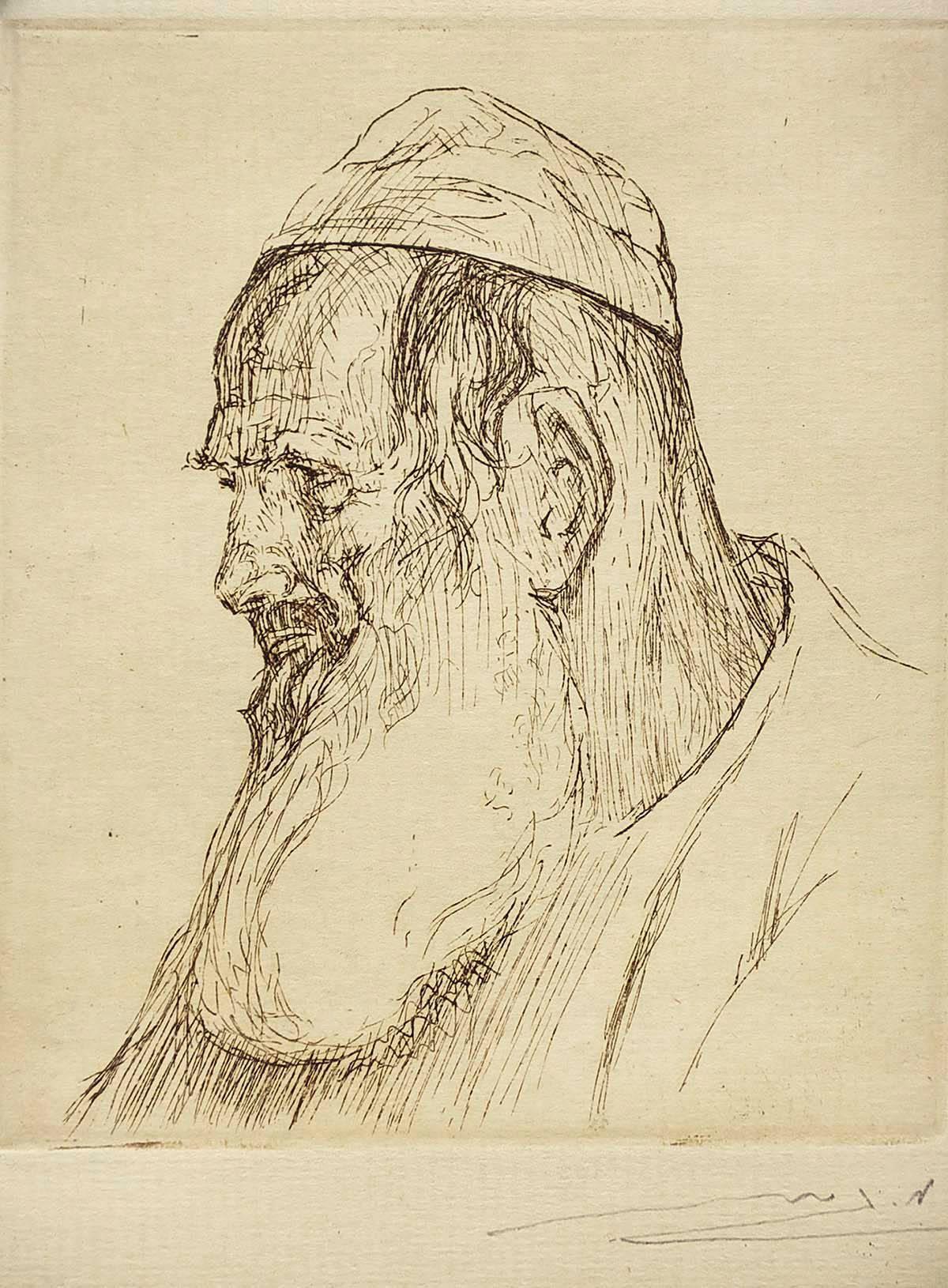 Scholar, Etching, Bezalel School, Palestine