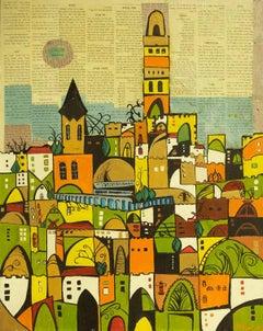 Jerusalem, Mixed Media Abstract
