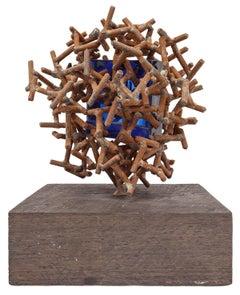 Claire Falkenstein Abstract Assemblage Sculpture Welded Iron Cobalt Glass