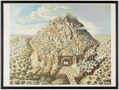 Jerusalem City of David Fantastic Realism Israeli Signed Lithograph