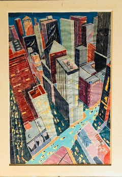 City Evening, Large Scale Whiteline Woodcut New York City at Night ed. 25