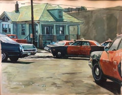 1980s Vintage American Street Scene Painting, Landscape with Taxi Cabs