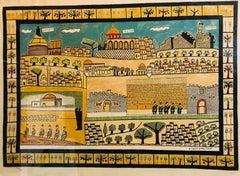 Pray for Peace of Jerusalem, Vintage Large Original Israeli Folk Art lithograph