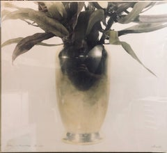 Vase with Foliage, Hand Tinted Photograph. Vintage Photo Print