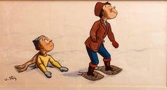 """Whimsical Illustration """"Snow"""" Cartoon, 1938 Mt Tremblant Ski Lodge William Steig"""