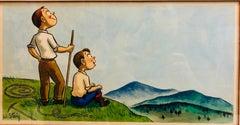 Whimsical Illustration Hiking Cartoon, 1938 Mt Tremblant Ski Lodge William Steig