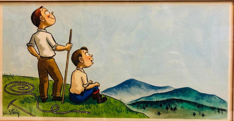 William Steig (b.1907) Figurative Art - Whimsical Illustration Hiking Cartoon, 1938 Mt Tremblant Ski Lodge William Steig