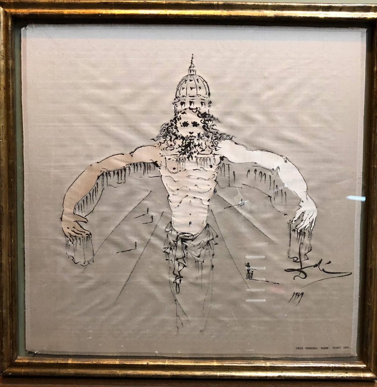 Signed Carlo Fumagalli Milano Texuit 1950 and signed Dali in the weaving. rare Silk Stevengraph style Jacquard-type loom.  Stevensgraph. Framed with glass on both sides.   Salvador Dali Biography 1904-1989  Salvador Dali is considered as the
