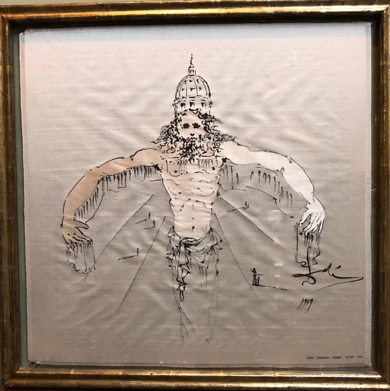 (after) Dali Rare Unusual Surrealist Silk Tapestry Weaving From Italy 1950 - Mixed Media Art by (after) Salvador Dali