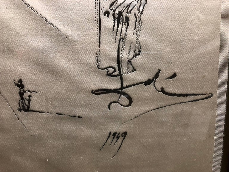 (after) Dali Rare Unusual Surrealist Silk Tapestry Weaving From Italy 1950 For Sale 2
