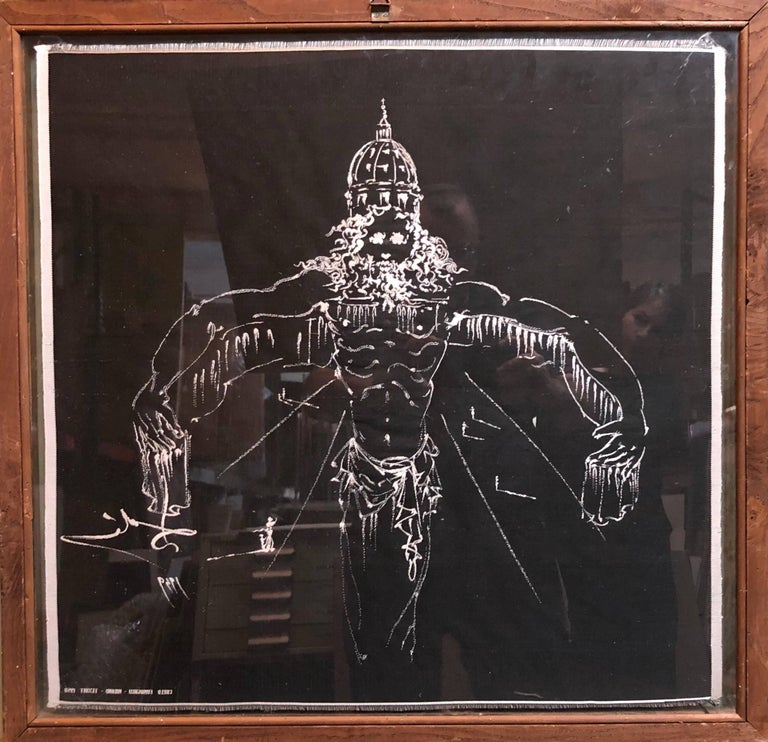 (after) Dali Rare Unusual Surrealist Silk Tapestry Weaving From Italy 1950 For Sale 3