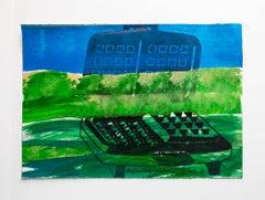 "Iain Baxter& ""Deflecting Landscape"" Conceptual Monoprint Painting"