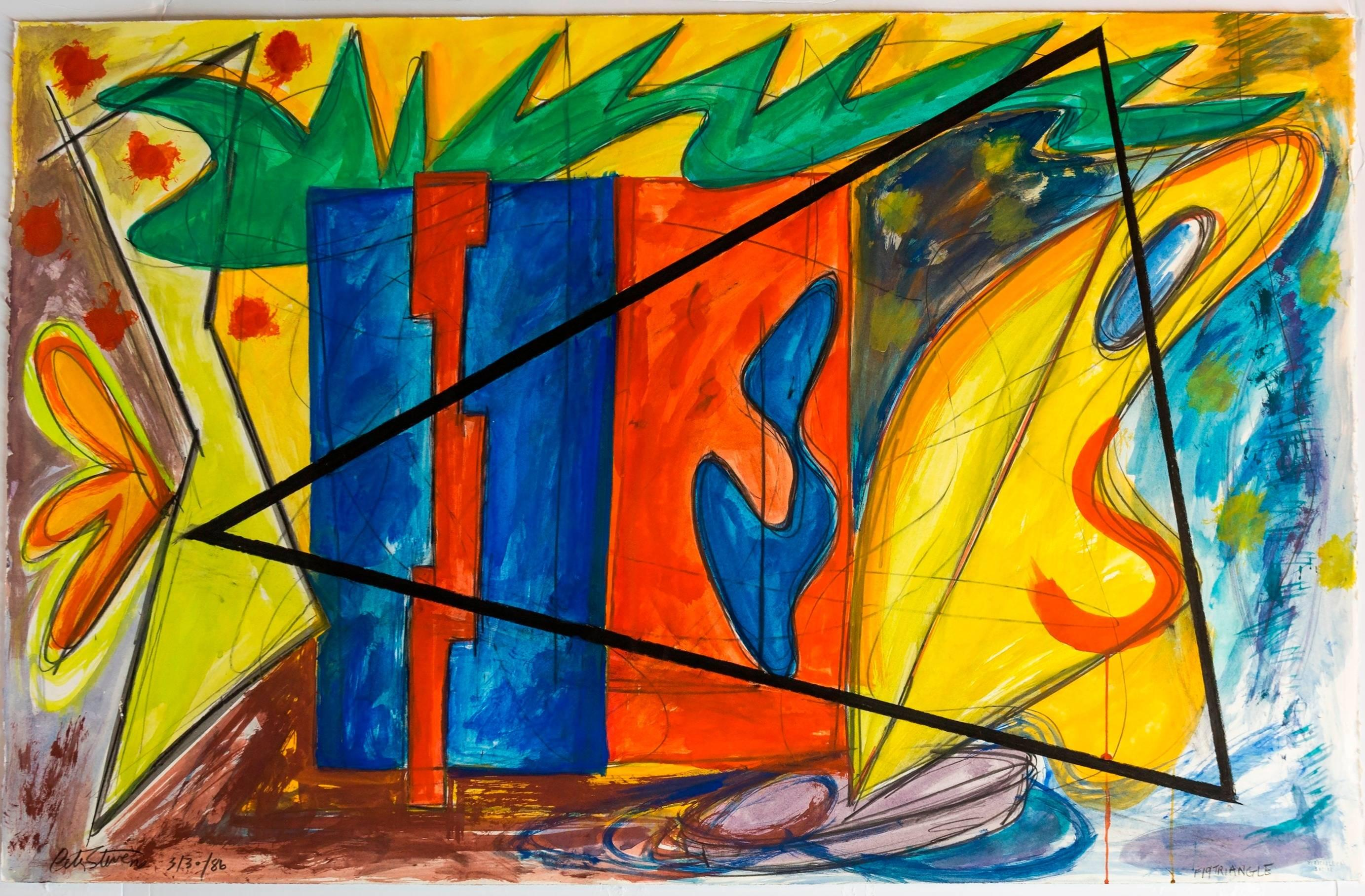 Large 80s Vibrant Dynamic Drawing/Painting Memphis Milano Era