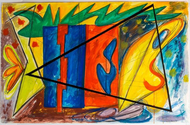 Peter Stevens Abstract Drawing - Large 80s Vibrant Dynamic Drawing/Painting Memphis Milano Era