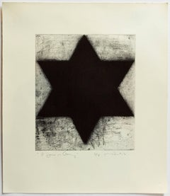 "Rare Abstract Expressionist Judaica ""A Jew in Germany"" Etching Print Jewish Star"