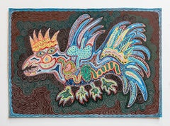 Israeli Folk Art Bright Colorful Naive Dragon Painting