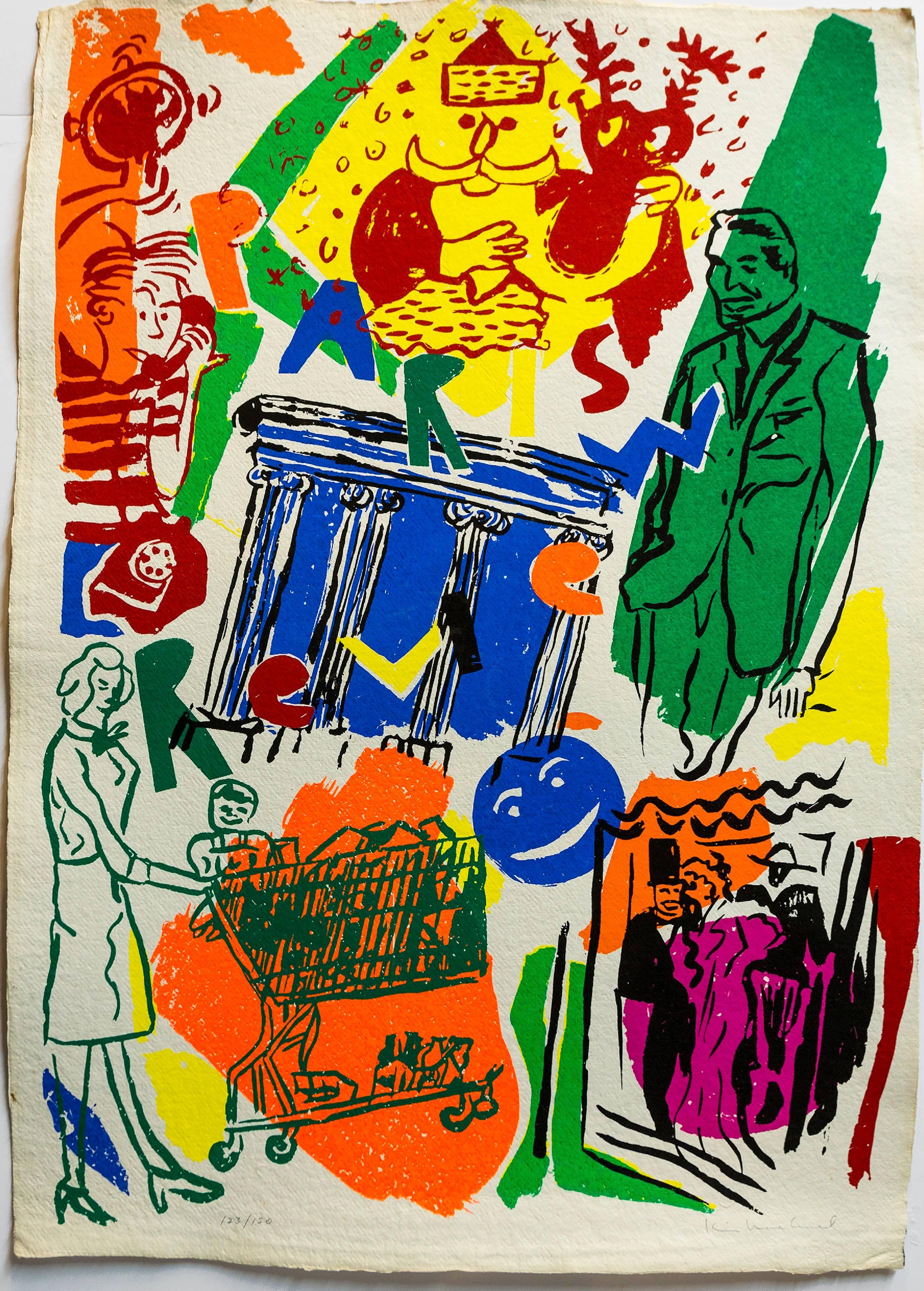 Paris Review hand signed 1982 Silkscreen Colorful Modernist