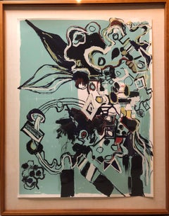 Large Format Modernist Abstract Lithograph Silkscreen Print Woman Artist