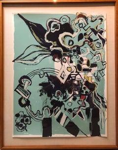 Large Format Modernist Abstract Lithograph Silkscreen Print Woman Artist