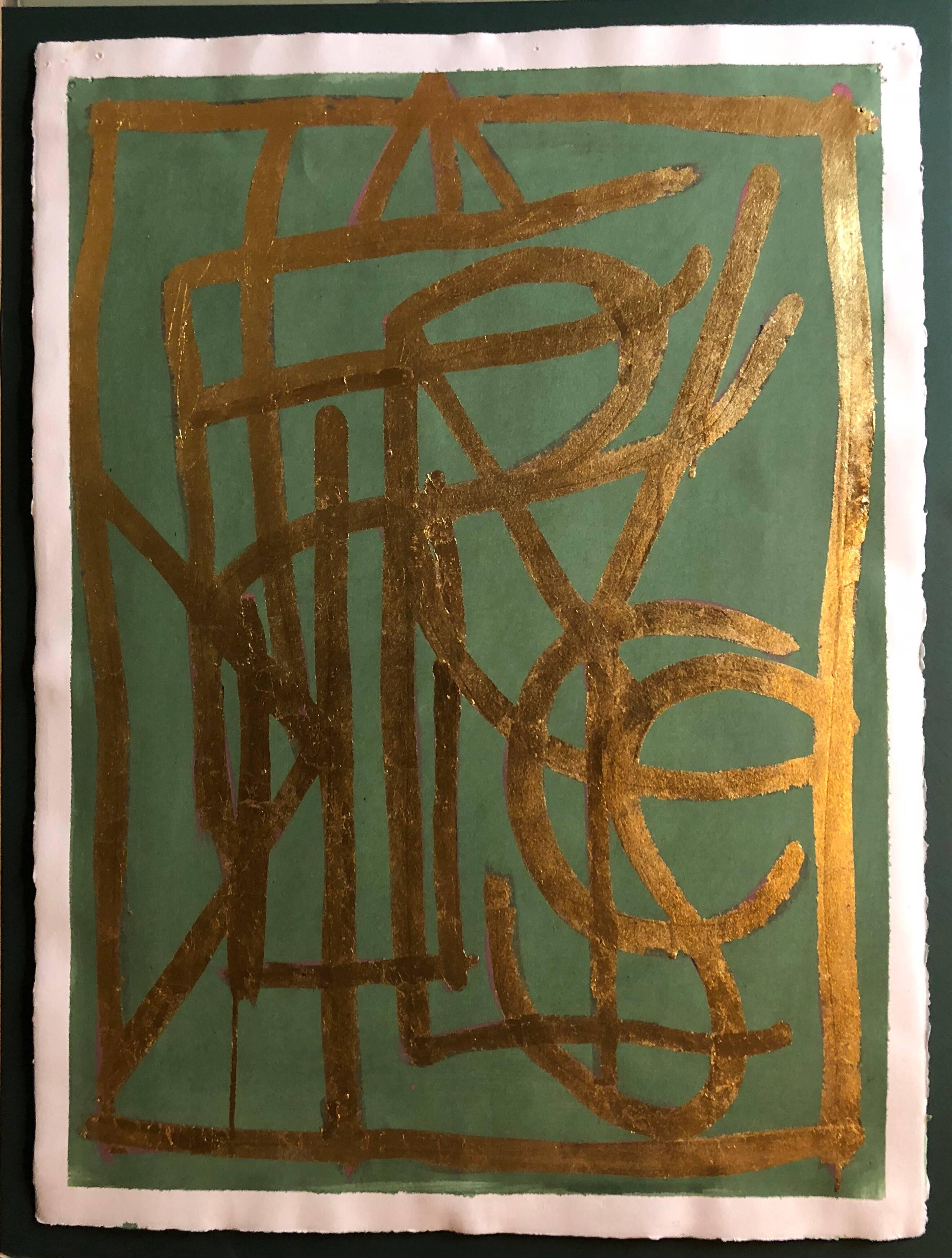 Turkish LA Artist Modernist Abstract Portrait in Gold Leaf on Paper Painting