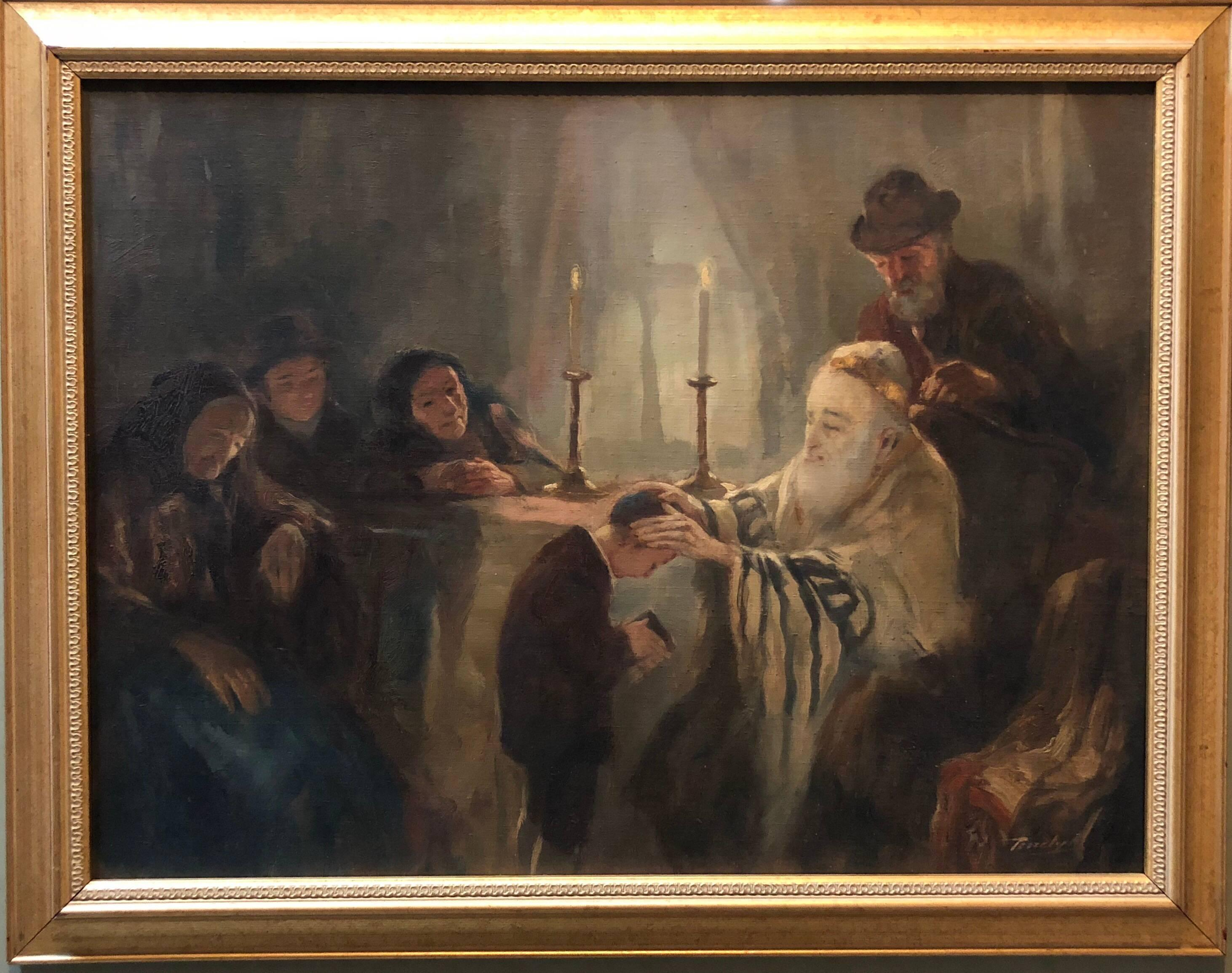 Blessing of the Tzadik (Rebbe) Rare Hungarian Judaica Oil Painting