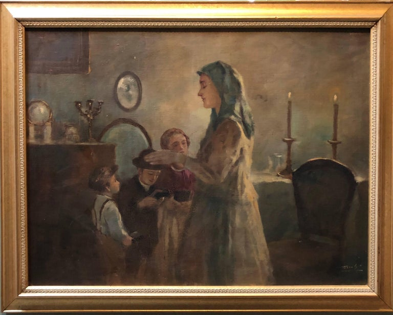 Mothers Blessing, Shabbat Candles Rare Hungarian Judaica Oil Painting