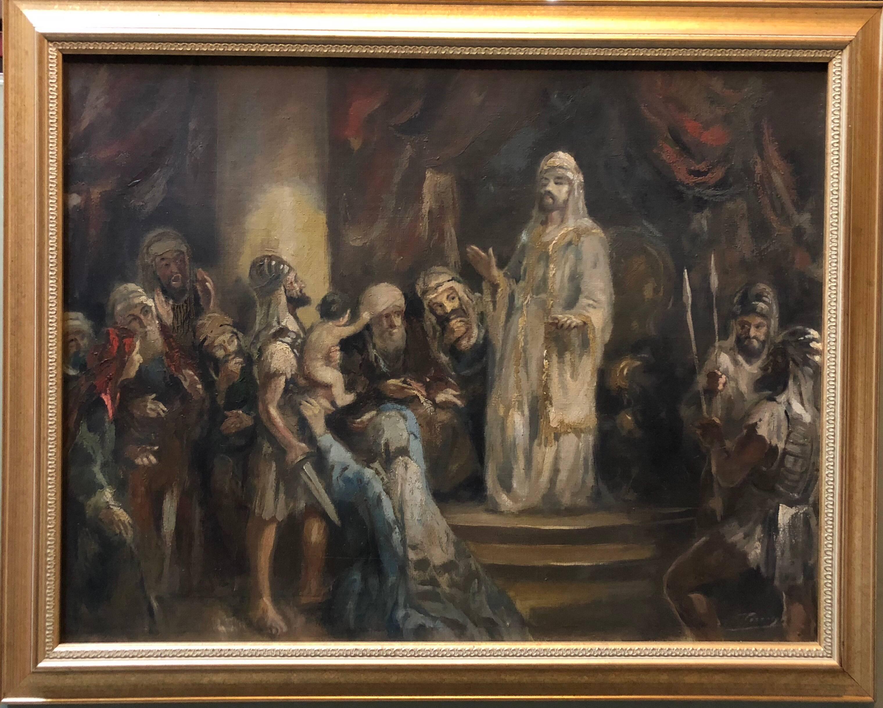 Wisdom of King Solomon Rare Biblical Hungarian Judaica Oil Painting