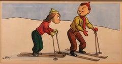 Whimsical Illustration Skiing Cartoon, 1938 Mt Tremblant Ski Lodge William Steig