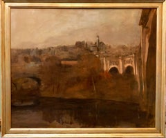 Seymour Remenick Architectural Landscape Oil Painting with Bridge